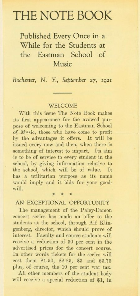 Page 1 of The Note book September 27 1921