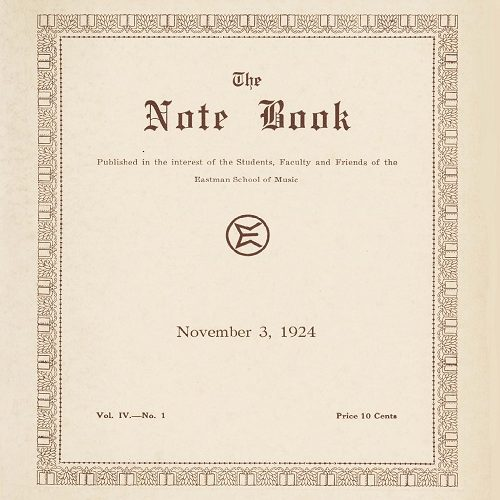 """Cover of the November 3, 1924, issue of """"The Note Book,"""" with a decorative border."""