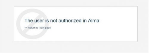 image of Alma login error