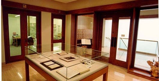 The display cases in the Special Collections foyer showcase some of the library's most valuable treasures. Currently, the cases feature a display of Debussy's manuscript short score to La Mer.