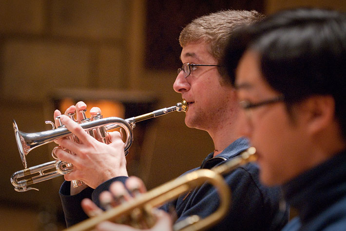 A student plays baroque trumpet in the Eastman Chamber Orchestra.