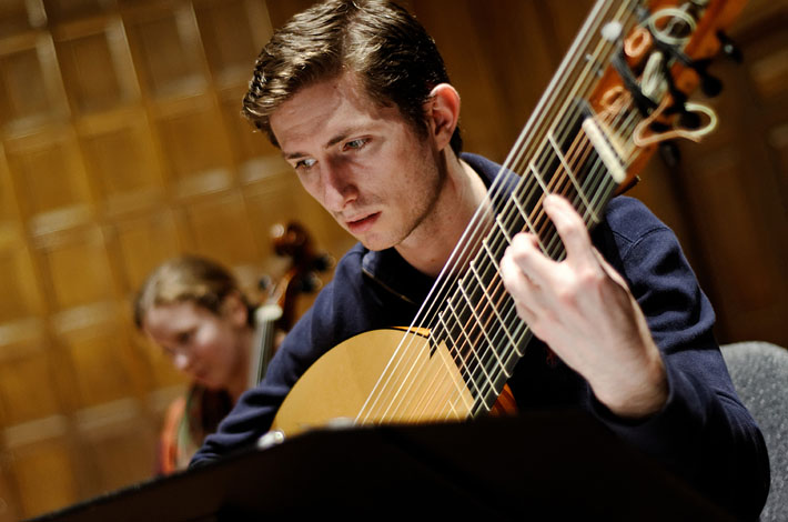 A student lutenist performs in Eastman's Collegium Musicum, devoted to historically informed performance of Renaissance and Baroque music.
