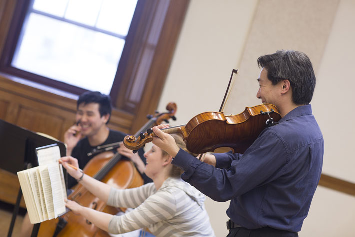 A student chamber group is coached by members of the Ying Quartet, Eastman's quartet-in-residence