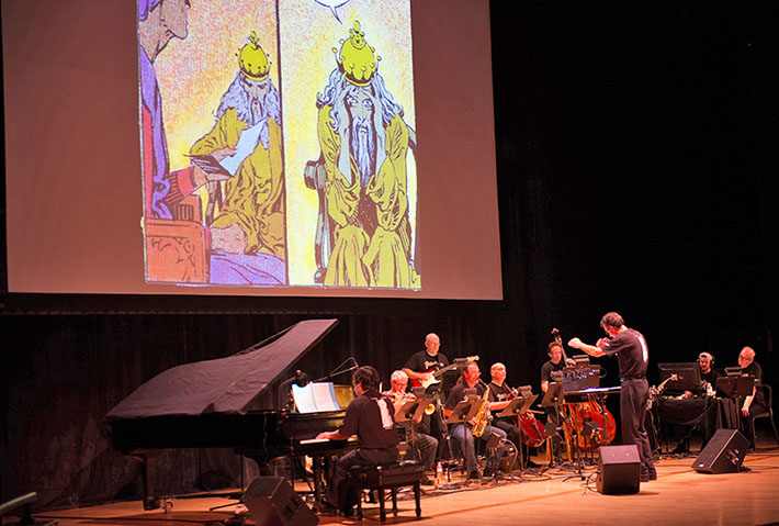 A unique interpretation of the opera Pelléas et Mélisande during the 2012 Debussy Festival: no singers and a jazz-ensemble musical accompaniment to projections from a Pélleas comic book by P. Craig Russell.