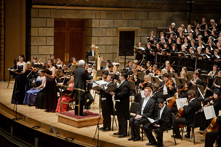 William Weinert, director of choral activities, leading the Eastman Rochester Chorus, Eastman Philharmonia, and student soloists in Schumann's Transfiguration of Faust, November 2011.