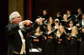 Eastman Chorale warming-up in Kilbourn Hall, March 1, 2015