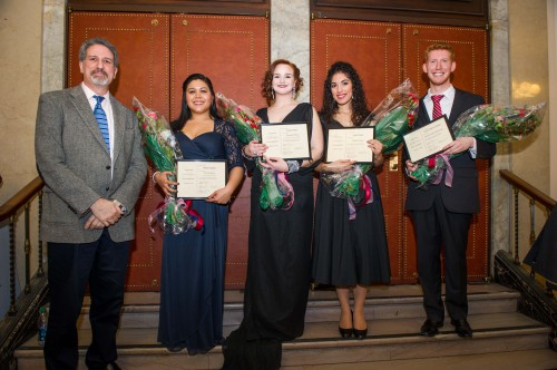 From left, Jay Lesenger, adjudicator for this year's Friends of Eastman Opera Competition; Melissa Fajardo, First Place, Lynne Clarke Vocal Prize; Keely Futtere, Second Place, Annabel Muenter Vocal Prize; Sophia Burgos, Third Place; Zachary Burgess, Honorable Mention