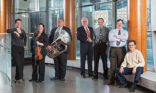 From left, Alison D'Amato, Julian Athayde, Don Harry, Robert Morris, Tony Caramia, Jan Opalach, and Bill Dobbins are among the faculty featured in recitals this spring.