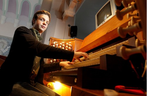 080714. news. photo: KENT BLECHYNDEN/FAIRFAX NZ.  Organist Thomas Gaynor who has launched an album to help fund his Doctorate of Music in USA.