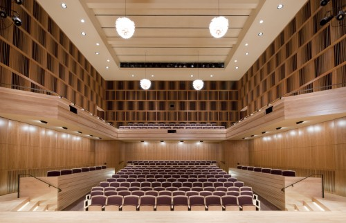 View of Hatch Recital Hall from the stage into the audience.