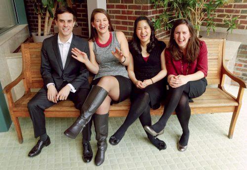 Stephen Humes with Soprano Caitleen Kahn '15E (MM), mezzo-soprano Megan Moore '15E, and pianist Florence Mak '17E (DMA)
