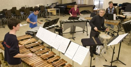 Michael Burritt in rehearsal with the Eastman Percussion Ensemble
