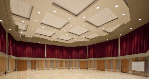 The new rehearsal hall is big enough for large orchestral ensembles.