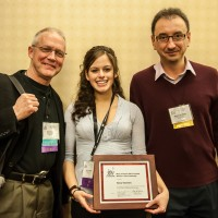 Alexa Tarantino at the Jazz Education Network annual conference with Clay Jenkins, left, and Dariusz Terefenko