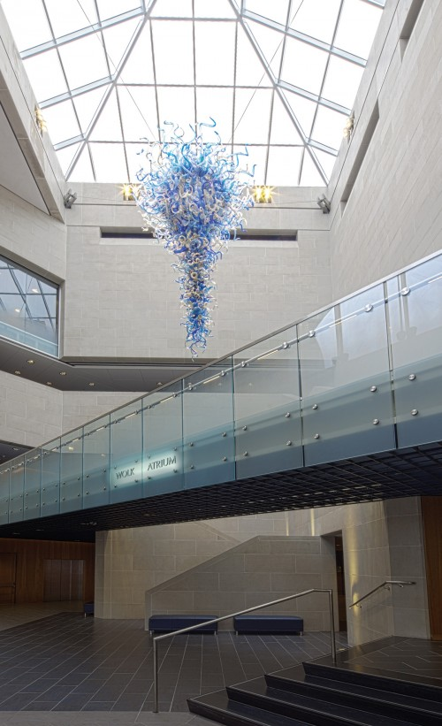 "Wolk Atrium, showing the Dale Chihuly glass sculpture titled ""Blue and Gold Chandelier"""